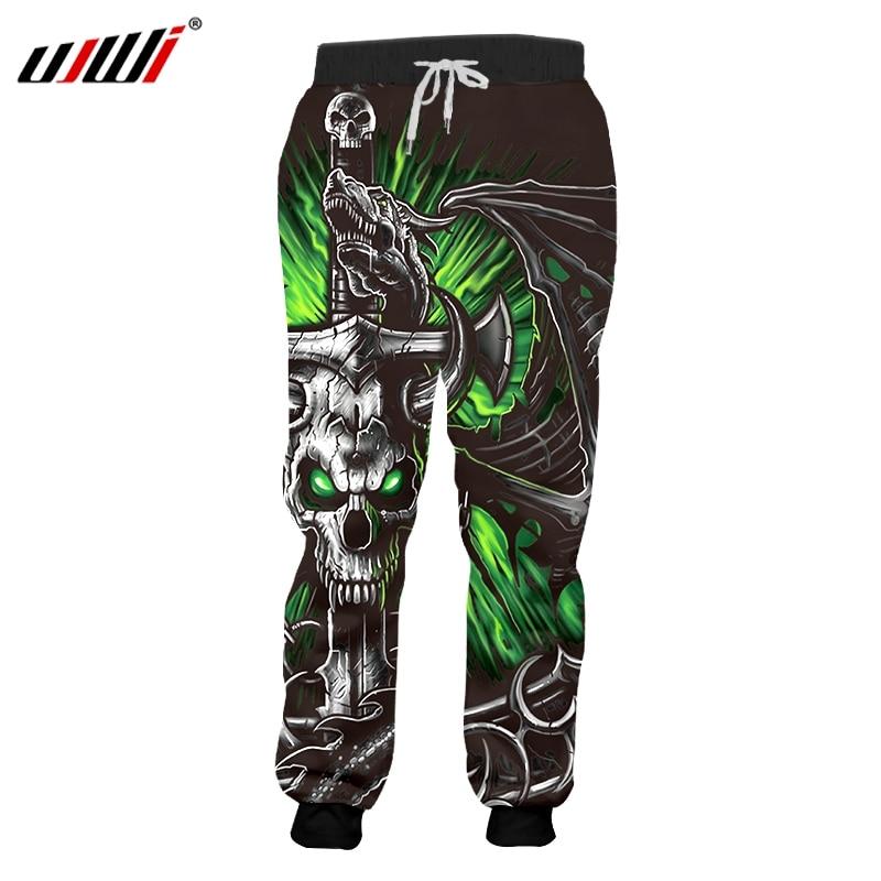 UJWI Dropship Sweatpants Men Cool Print Green Skull  Horn 3D Jogger Pants Casual Hip Hop Streetwear Full Length Trousers