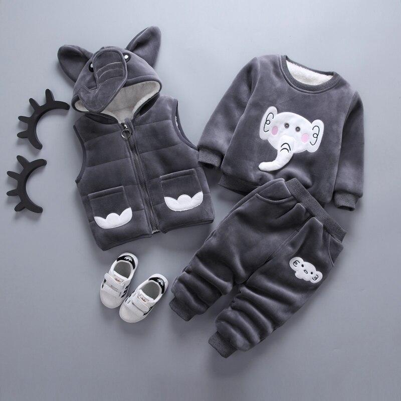 Одежда для маленьких мальчиков зимний плотный вельветовый Детский Теплый свитер с капюшоном и рисунком динозавра, медведя костюм для маленьких девочек|Комплекты одежды| | АлиЭкспресс