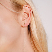 Womens Earrings Fashion Jewelry Accessories Female Minimalist Fringe Stainless Steel Gold Beads Threader Long Tassel