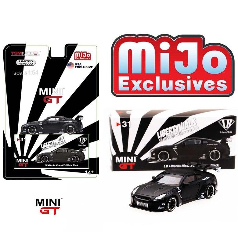 Мини GT 1: 64 LB Liberty Walk Nissan GT-R R35 MIJO USA эксклюзивная матовая черная модель LHD Tsm литая под давлением модель автомобиля