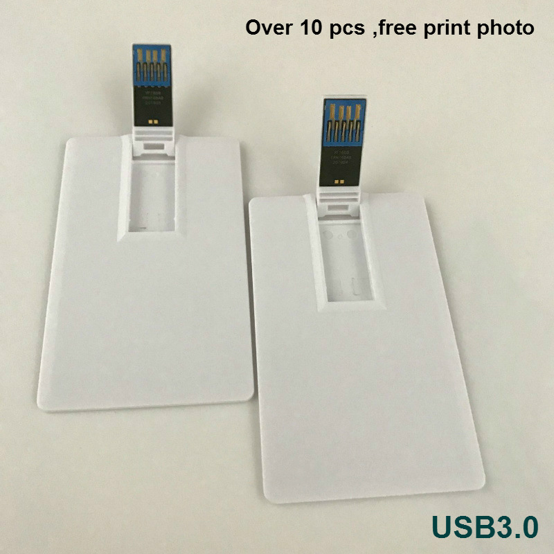 White Credit Card Usb Sticks Custom Photo Print Company Logo Name Gift 4-32GB Usb 3.0 Flash Pen Drive (over 10pcs Free Logo)