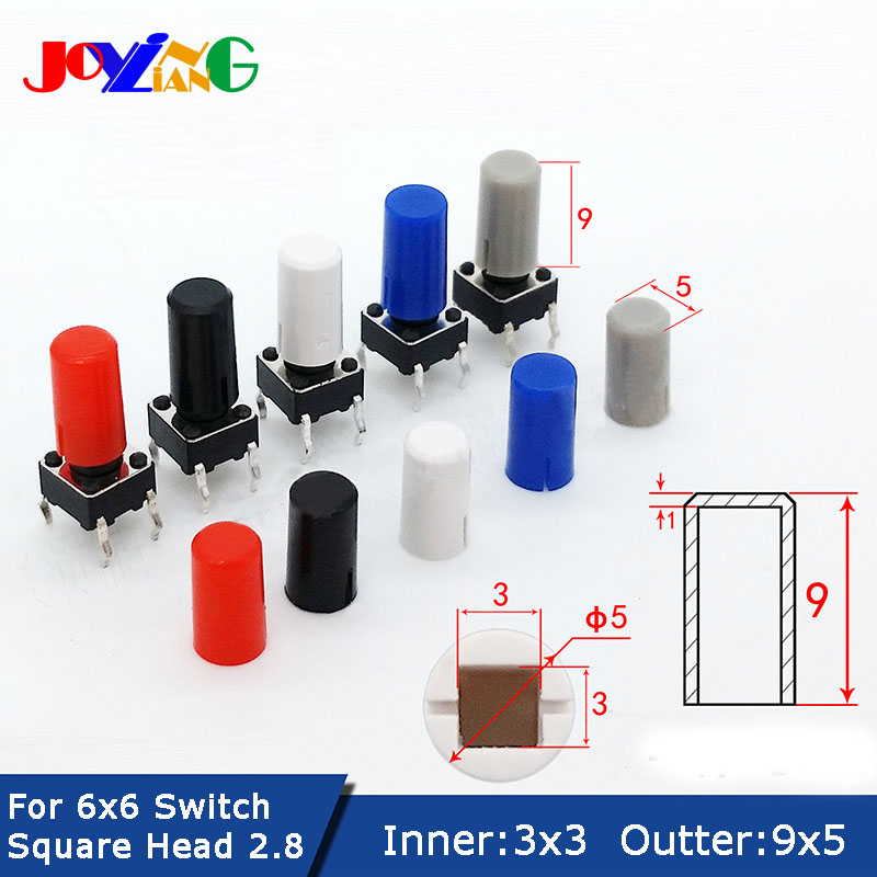 JOYING LIANG 5*9 Key Cap Round Square Inner Diameter 3x3 Switch Cap Fits 6*6  Head Touch Switch Outer Diameter 5x9