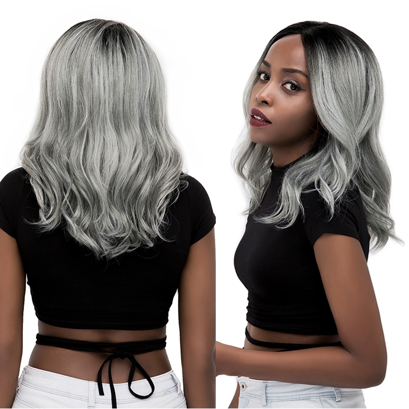 SOKU Synthetic Lace Wigs Silver Gray Color Shoulder Length Natural Wave Hair Wigs For Black Women I Part Hair Wig