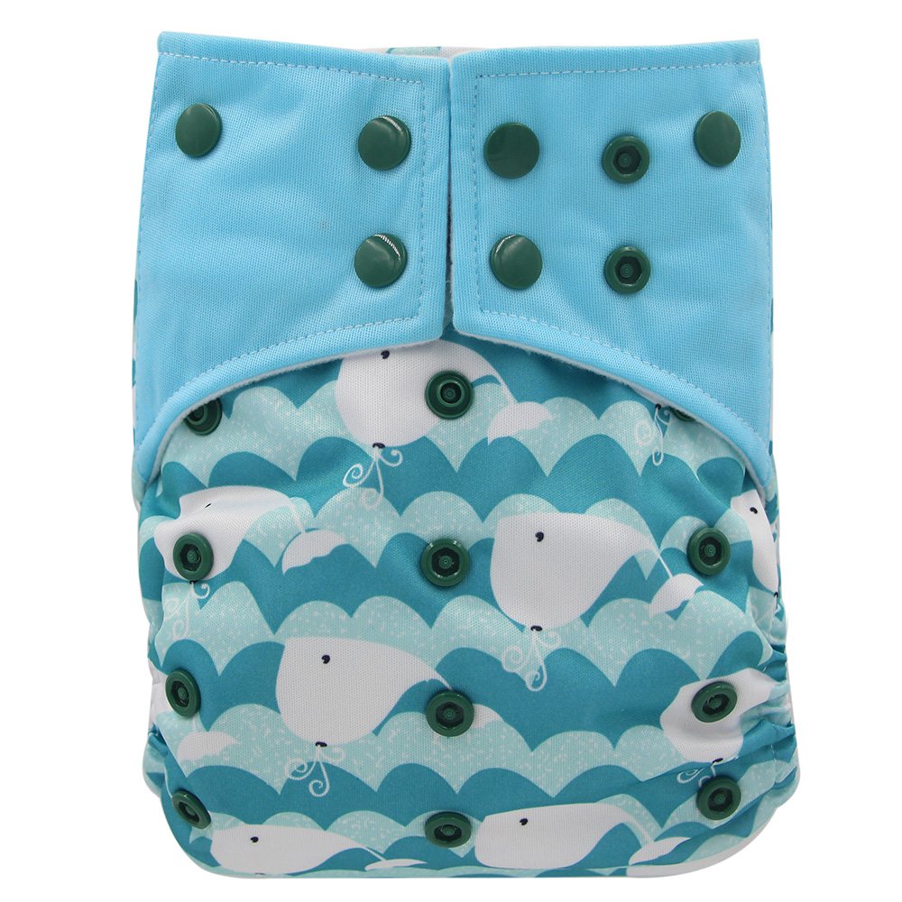 Ohbabyka Bamboo Charcoal Pocket Diapers Cover AI2 Cloth Diapers Newborn Double Gussets Reusable Cloth Diapers One Size Fit All