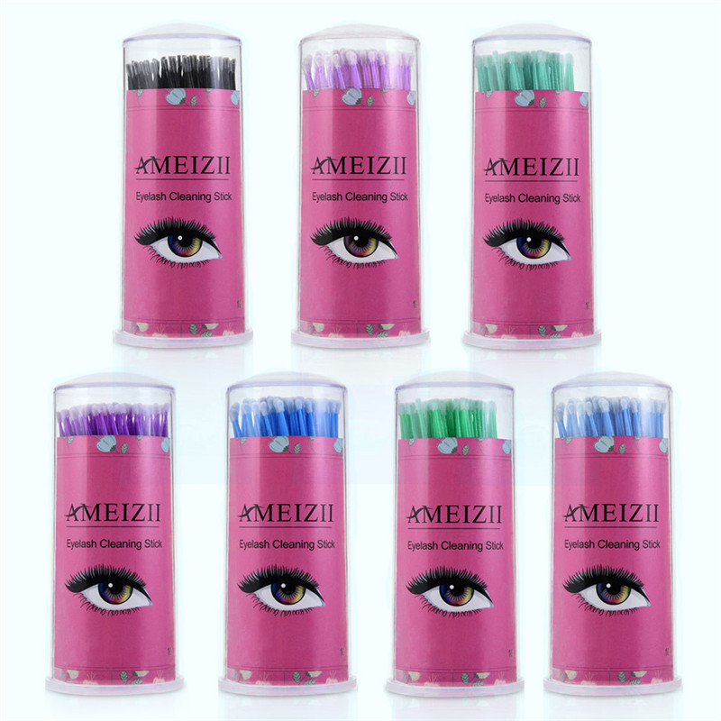 100pcs Durable Micro Disposable Eyelash Extension Cleaning Makeup Brushes Applicators Mascara Removing Tools Cotton Swabs