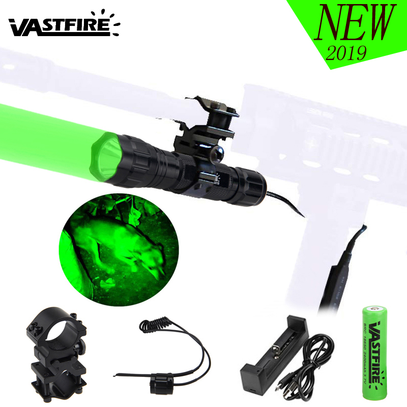 501B LED Tactical Hunting Weapon Flashlight Red Green White Rifle Gun Light+Pressure Switch+20mm Rail Barrel Mount+18650+Charger