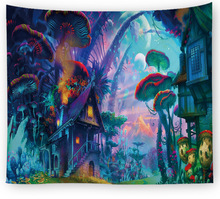 Magic Forest Tapestry Wall Hanging Art Wall Carpet Home Decor Boho Hippie Tapestry Red Mushroom Decorative Wall Tapestries цена 2017