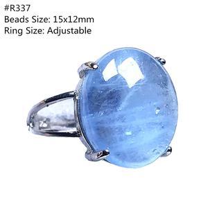 Image 2 - Véritable naturel océan bleu aigue marine bague bijoux pour femme homme cristal clair ovale perles argent pierre gemme réglable anneau AAAAA