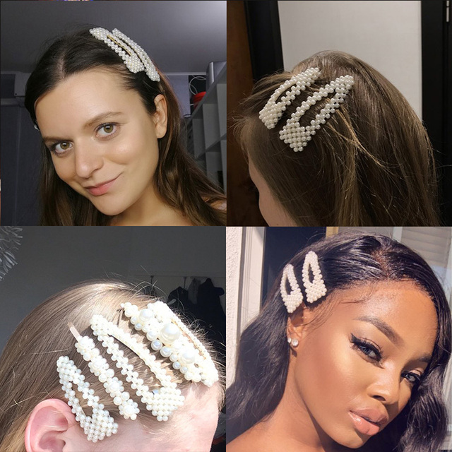 3/4/5pcs/Set Women Girls Elegant Full Pearls Geometric Hair Clips Sweet Hair Ornament Hairpin Barrette Headband Hair Accessories 6