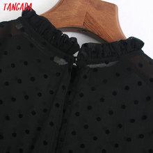Tangada 2020 moda damska kropki czarna sukienka kołnierz z falbankami z krótkim rękawem damska elegancka spódniczka midi Vestidos 6Z38 tanie tanio Poliester -Line Osób w wieku 18-35 lat Lato O-neck REGULAR Ruffles High Street Naturalne Kostek