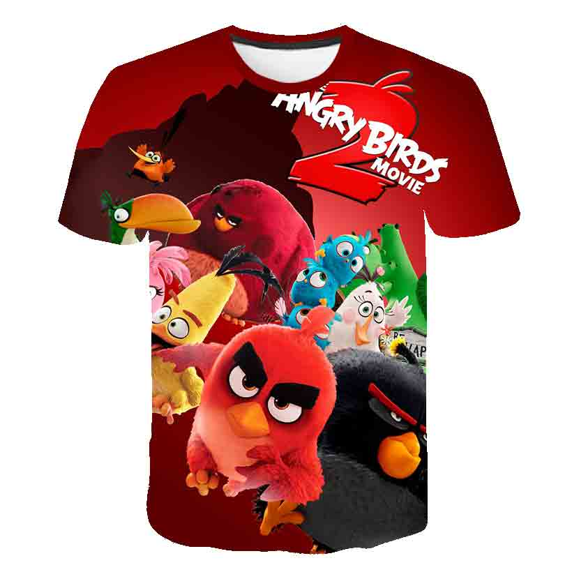Summer new 3D baby Boys clothes T-Shirt Birds 2 print New Arrival Movie The kids Angry girl t-shirt child 100-160 casual top tee