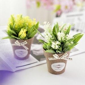 Искусственные цветы маленькая трава бонсай искусственные Искусственные цветы в горшке для деревенских свадебных вечеринок Садовый дом Декор