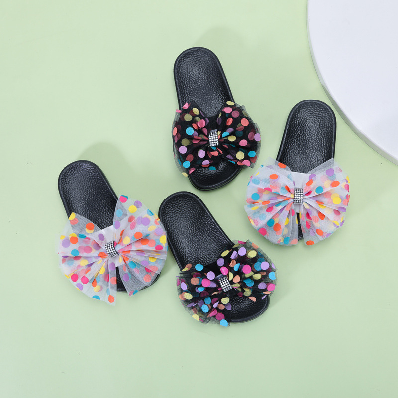 2020 Fashion New Summer Children Bow-knot Flip Flops Shoes For Girls Cute Bow Dot Princess Slipper Casual Shoes Sandals 24-35