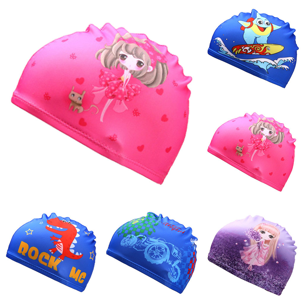 Children's Swimming Cap Printed Small Starfish Cartoon Dinosaur Swimming Cap Sports Hat A1