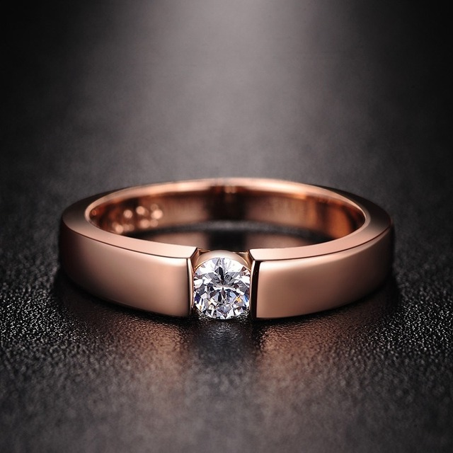 14K Rose Gold Diamond Engagement Ring for Couple Male Bridal Wedding Band Personalized AAA Zircon Rhinestone S925 Silver Rings 1