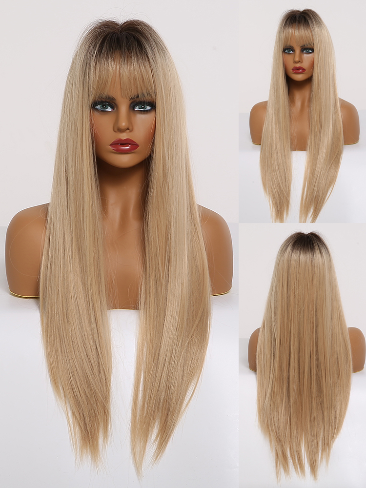 Synthetic Wigs Bangs Louis-Ferre Heat-Resistant Brown Fibre Long-Silk Black Straight