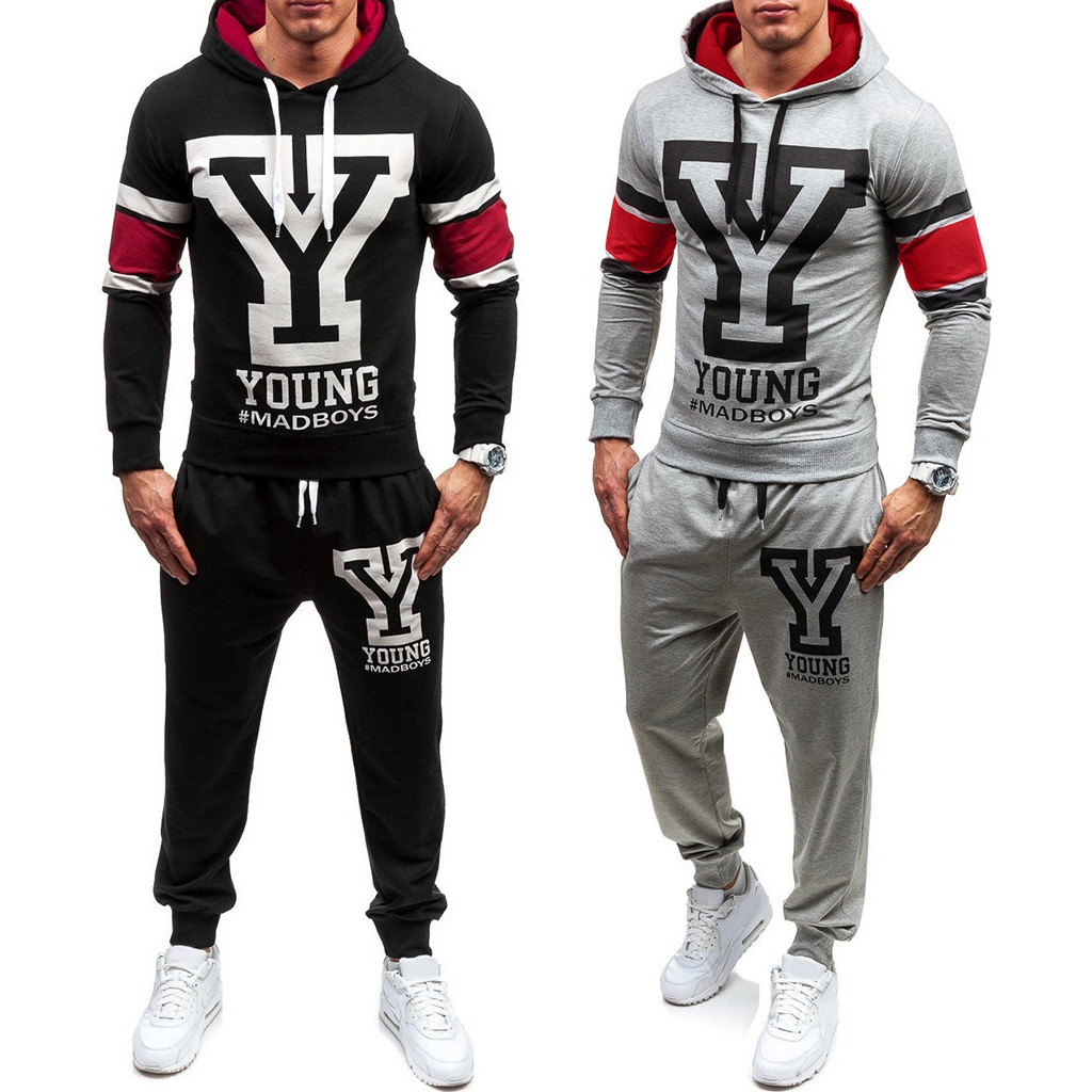 Mens Brand Autumn Sports Sets Hoodie Printed Sweatshirt Top Pants Sets Sports Street Suit Tracksuit Running Fitness 2PCS#G2