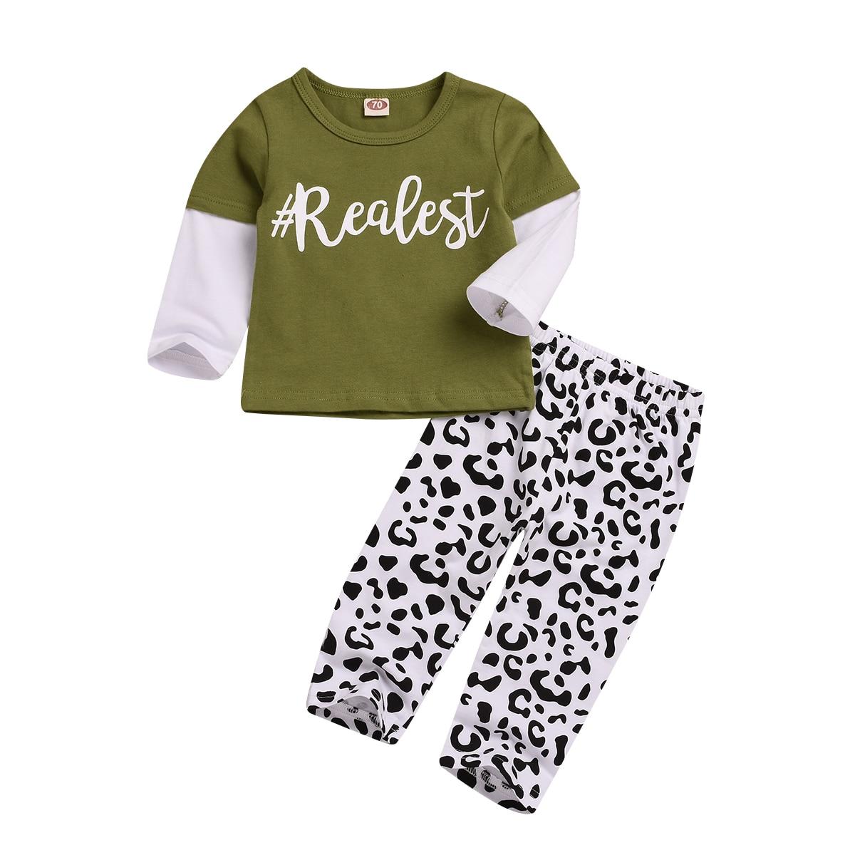 US Newborn Baby Boy Girl Long Sleeve Top T-shirt+Pants 2pcs Outfits Clothes Set