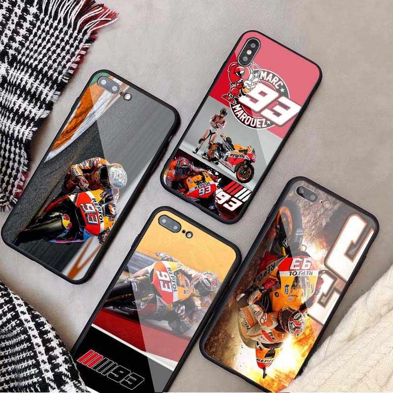 Étui en verre trempé pour iPhone, 2018, 2019, mark Marquez Moto Gp 93, 5, 5s, SE, 6, 6plus, 7, 8 plus, X, XR, XS Max, 11 PRO Max