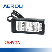 Adaptador do conversor da c.a. 29.4-100 v da ue/eua/au/uk do carregador dos batterites do li-íon do lítio da fonte de alimentação do bloco de bateria de aerdu 240v 7s 2a 24v