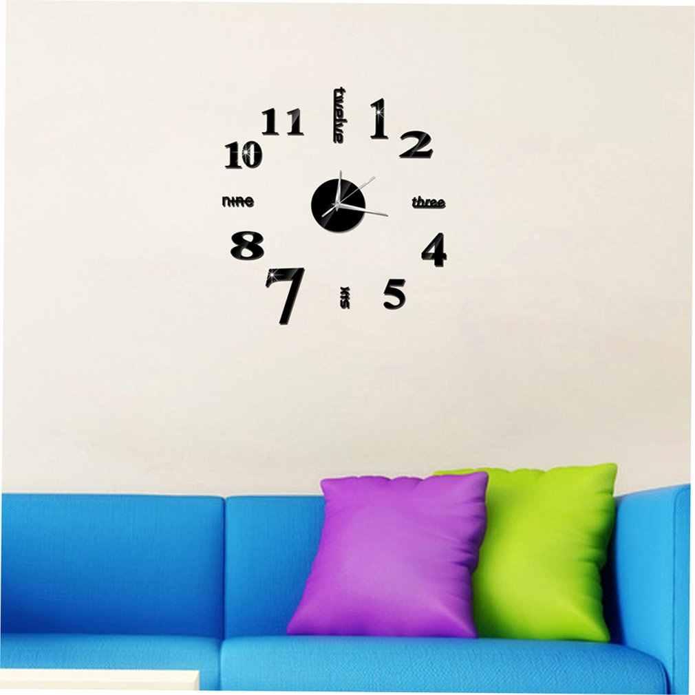الصينية الإنجليزية عدد DIY غرفة المعيشة المنزلي نوم ملصقات جدار 3D غرفة المعيشة المنزلي الديكور الأزياء كوارتز ساعة
