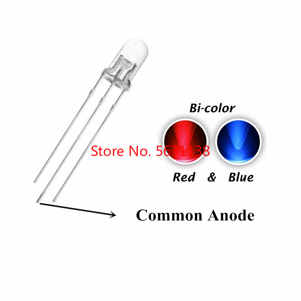 100pcs F5 5mm Bicolor Chip LED Red + Blue Common Anode Water Clear Dual Colors LEDs Round Head  Lamp Light Beads Red+blue R+B