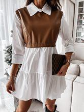 Decontracte UN Manches Longues Mini Robe Chemise Verser Women Blanc camisero de imitacion de cuero para mujer Robe elegante