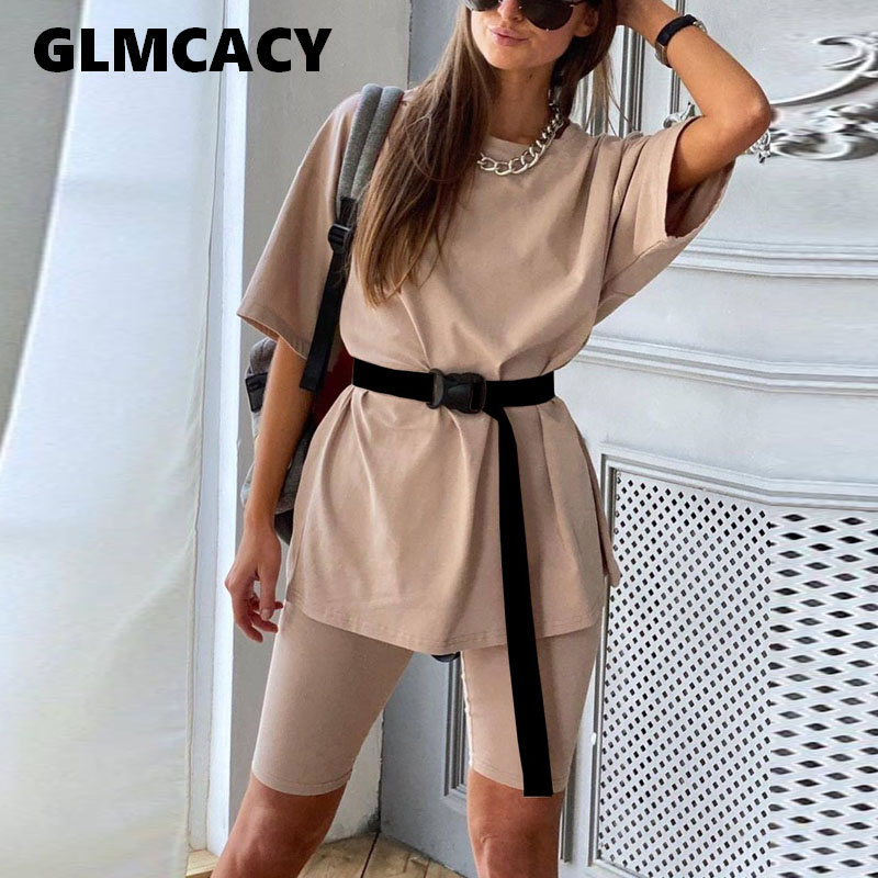 7 Colors Women Two Piece Summer Suits WITH BELT Tracksuit Solid Two Piece Set Top And Shorts Set Elegant Chic Suits Loungewear