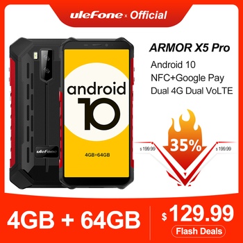 Ulefone Armor X5 Pro Rugged Waterproof Smartphone 4GB+64GB Android 10.0 Cell Phone NFC 4G LTE Mobile Phone