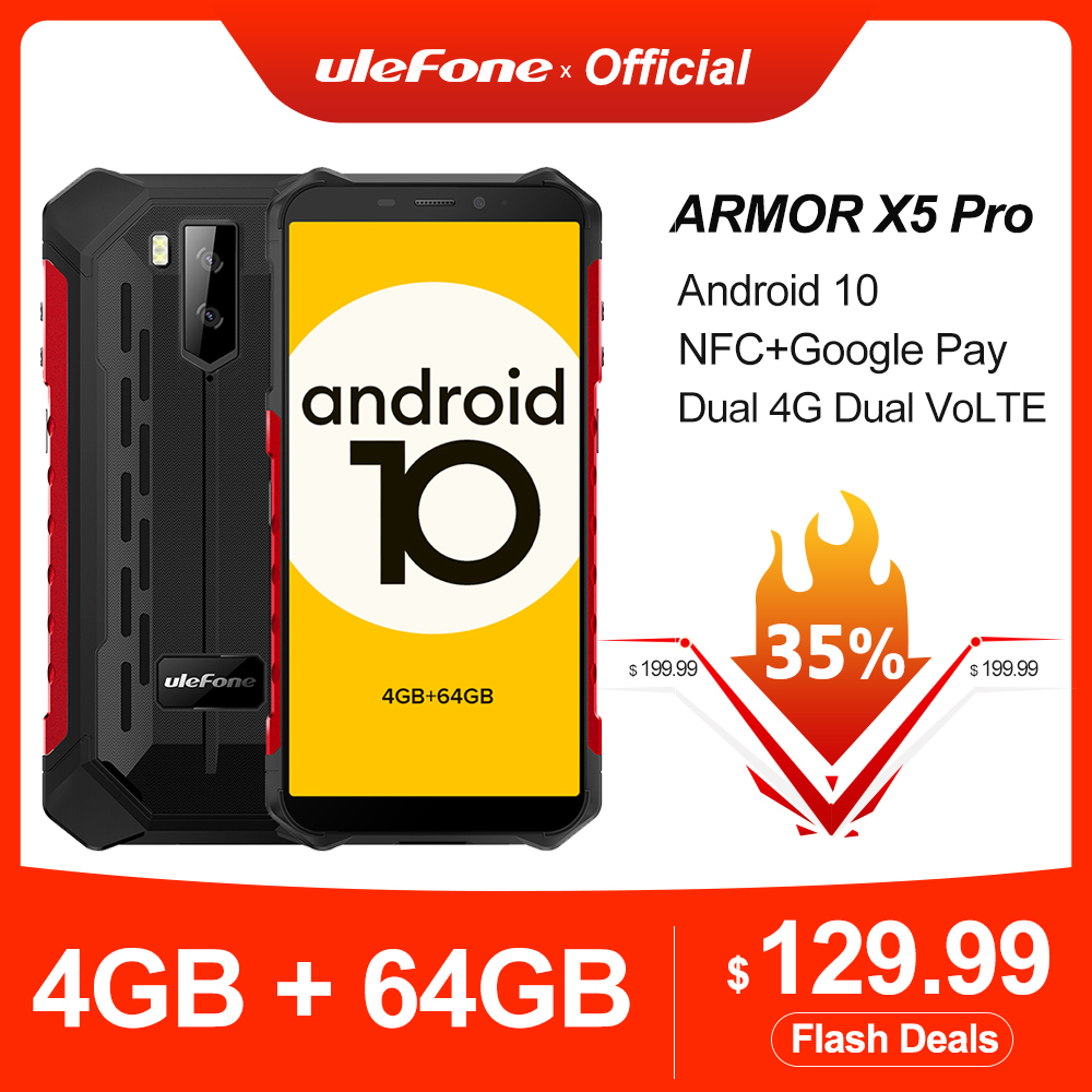 Ulefone Armor X5 Pro Robuuste Waterdichte Smartphone 4Gb + 64Gb Android 10.0 Mobiele Telefoon Nfc 4G Lte mobiele Telefoon