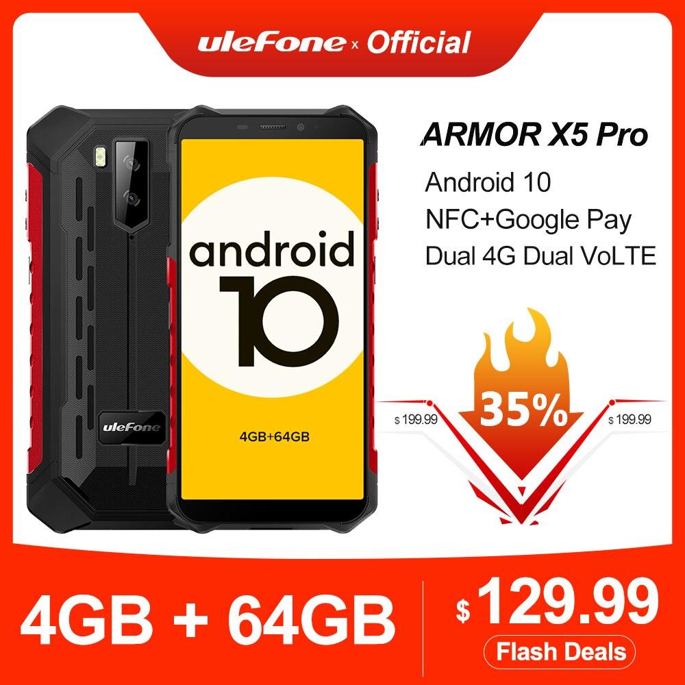 Ulefone Armor X5 Pro robuste étanche Smartphone 4GB + 64GB Android 10.0 téléphone portable NFC 4G LTE téléphone portable