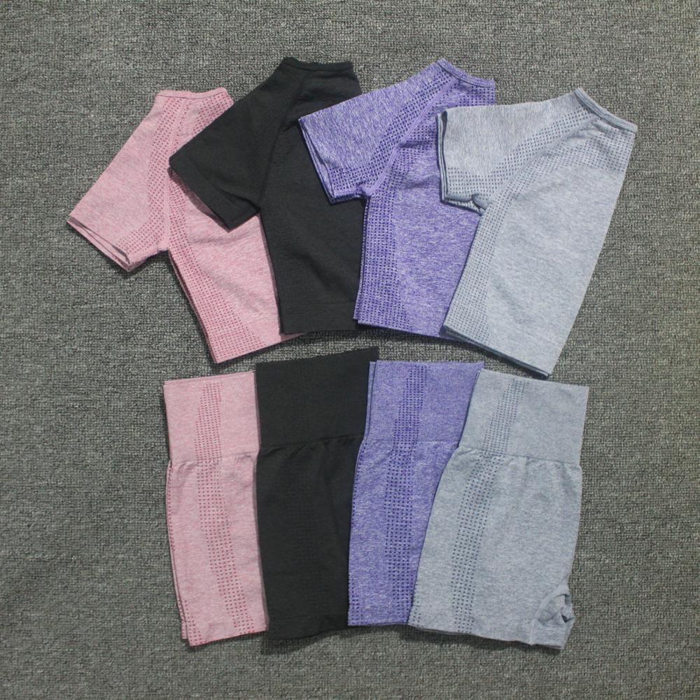 2pcs/set Summer Women Vital Seamless Yoga Set Fitness Short Sleeve Crop Top Shirts Running Shorts Workout Clothes Women Gym Set