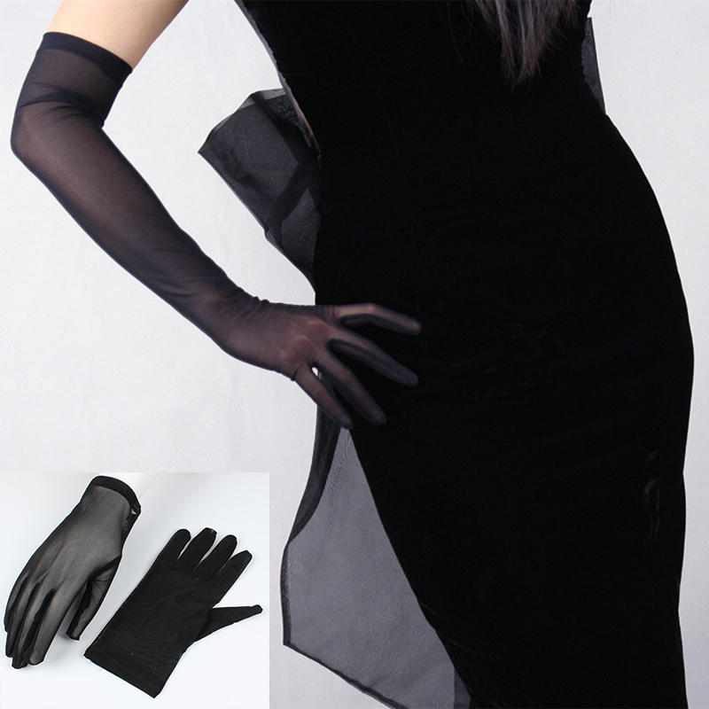 Sexy Lace Sunscreen Gloves For Women Summer Spring Long Solid Black Transparent Elastic Anti-UV Driving Opera Gloves Size 55cm