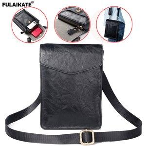 """Image 1 - FULAIKATE 7.2 """"universel sac de téléphone pour Huawei Mate 20X rétro pochette dépaule pour Xiao mi mi Max 3 grande taille sac de taille pour iPhone"""