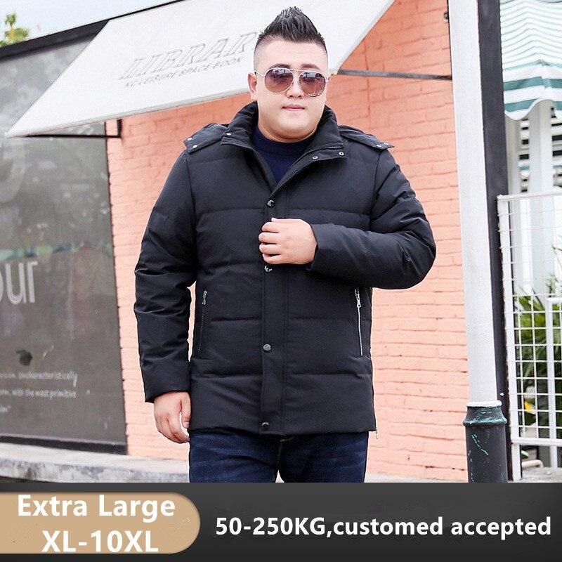 Hiver canard doudoune hommes 2019 à capuche noir manteaux grande taille 7XL 8XL 9XL 10XL vêtements personnalisés Hoodies hommes épais Parkas