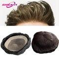 Парик мужской из натуральных волос NPU, моно, прямые волнистые индийские человеческие волосы без повреждения кутикулы, сменный натуральный ш...