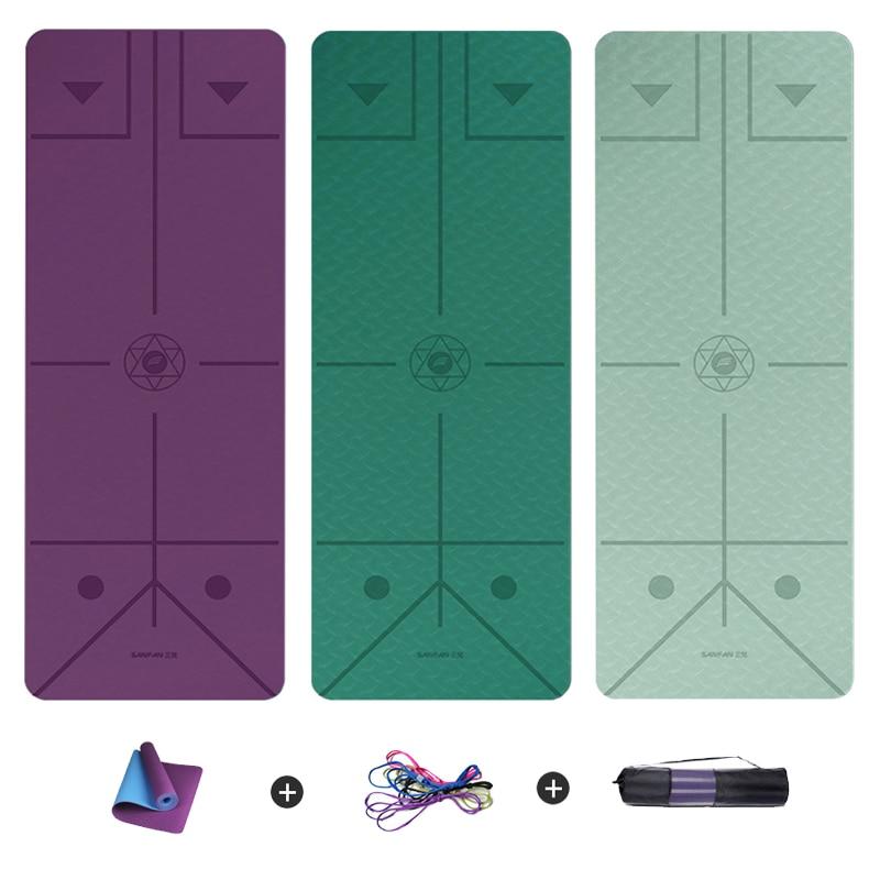 Fitness Yoga Mat 6mm TPE Non-slip Gym Pilates Exercise Esterilla Mats Wide 66CM With Position Line Gymnastics Carpet Pads