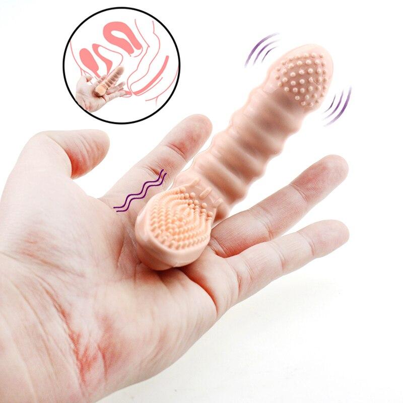 Finger Sleeve G Spot Vibrator Massage Stimulates BDSM Bondage Set Restraints Masturbator Adult Sex Toys For Woman Couples Games