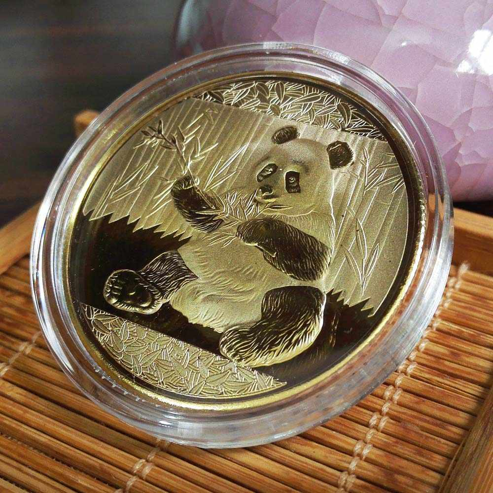 מטבעות גדול פנדה Baobao סין הנצחה אוסף אמנות מתנה שחור ולבן דוב חמוד זהב רסיס צבע