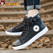 2019 Autumn Winter Fashion Brand Canvas Shoes Men Classic High Tops Sneakers White Black Leather Lace Up Youth Male Casual Shoes
