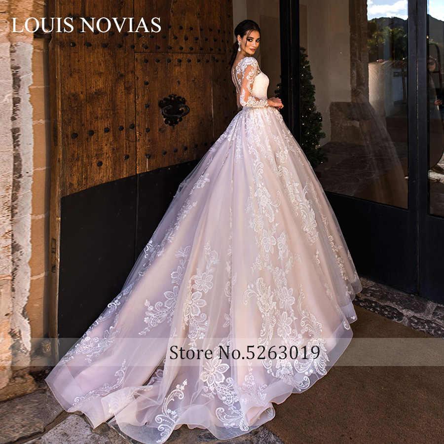 לואיס NOVIAS חתונה שמלת 2020 סקסי מתוק ארוך שרוול אשליה אפליקציות כלה שמלות בתוספת גודל רומנטי שמלות כלה