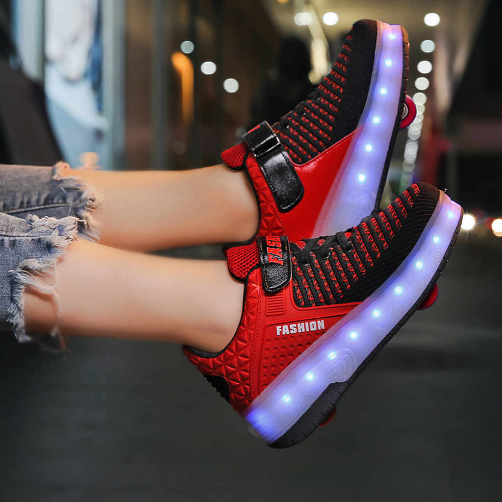 Muqgew Toddler Wheels Skate Shoes Infant Children Sneakers Shoes Fashion Kids Sneakers Light Up Led Shoes Wy6