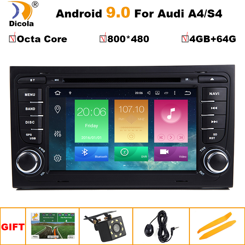 4G + 64G 2 Din 7 ''Android 8.0 Octa Core Radio Lettore DVD Dell'automobile per Audi A4 b6 B7 S4 B7 B6 RS4 2002-2008 RS4 B7 SEAT Exeo 2008-2012