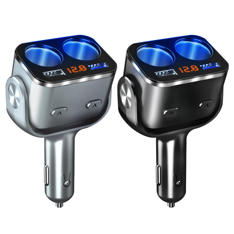 New 12V-24V Car Cigarette Lighter Auto Splitter Socket Dual USB Car Charger QC 3.0 Fast Charge With Switch Voltage Display