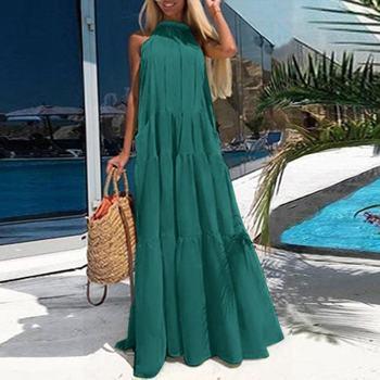 Plus Size Woman Summer Sundress ZANZEA 2020 Elegant Ruffle Dress Halter Neck Casual Maxi Vestidos Female Hollow Sleeveless Robe plus tie neck lace insert ruffle botanical dress