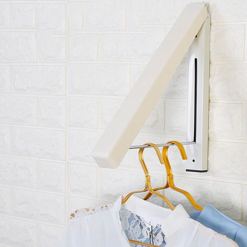 Stainless Steel Folding Wall Hanger Mount Retractable Clothes Foldable Home Storage Organization Hooks Rails Hanging Rack Holder