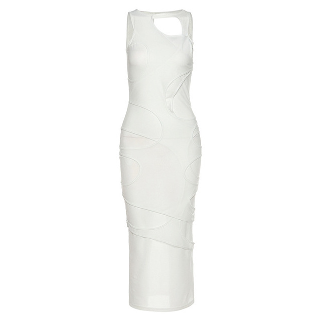 Sexy Women Dress Hollow Out Long Dresses Solid Color Sleeveless Party Night Clubwear Dresses Vestidos 3