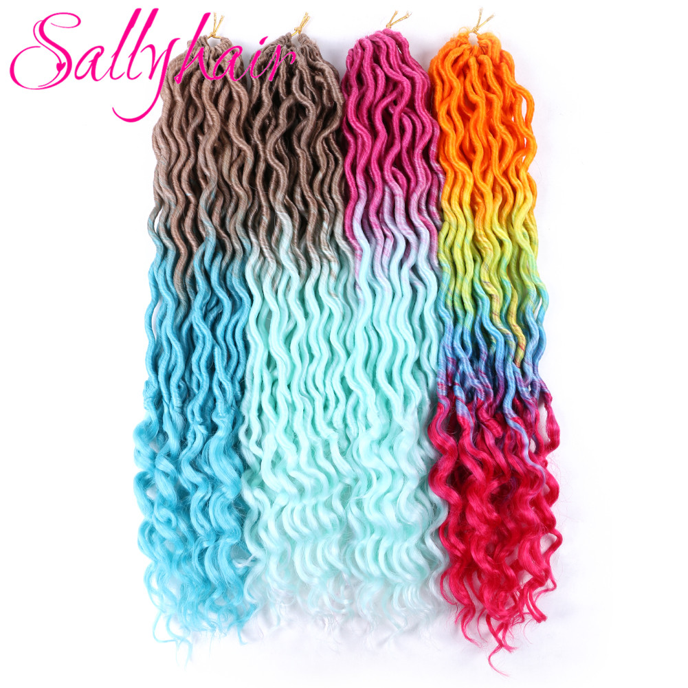 Sallyhair 24 Strands/Pack Faux Locs Curly Crochet Braids Hair Extension 20inch Synthetic Ombre Braiding Hair Purple Loose End