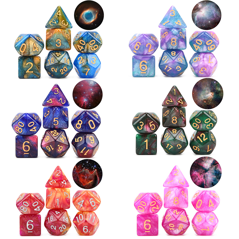 New Arrival Nebula Dice Set 7pcs/set Polyhedral Dice For DnD Tabletop RPGs Games D4 D6 D8 D% D10 D12 D20