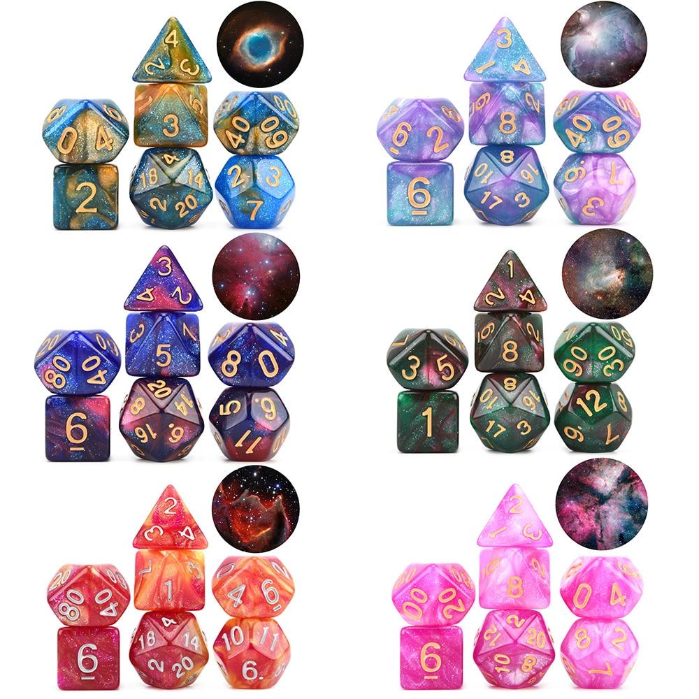 New Arrival Nebula Dice Set 7pcs/set Polyhedral Dice For DnD Tabletop RPGs Games D4 D6 D8 D% D10 D12 D20